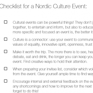 Checklist for a Nordic Culture event