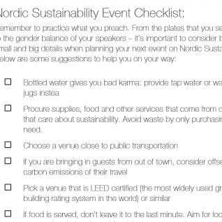 Nordic Sustainability Event Checklist
